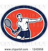 Vector Clip Art of Retro Male Tennis Player Athlete in an Oval by Patrimonio