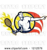 August 14th, 2018: Vector Clip Art of Retro Male Tennis Player in a Flaming Circle by Patrimonio