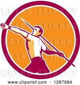 Vector Clip Art of Retro Male Track and Field Javelin Thrower in a Pink White and Orange Circle by Patrimonio
