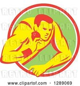 Vector Clip Art of Retro Male Track and Field Shot Put Athlete Throwing in a Pink White and Green Circle by Patrimonio