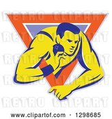 Vector Clip Art of Retro Male Track and Field Shot Put Athlete Throwing in a Purple White and Orange Triangle by Patrimonio