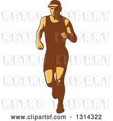 Vector Clip Art of Retro Male Triathlete or Marathon Runner 2 by Patrimonio