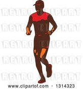 Vector Clip Art of Retro Male Triathlete or Marathon Runner 3 by Patrimonio