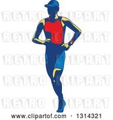 Vector Clip Art of Retro Male Triathlete or Marathon Runner by Patrimonio