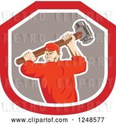 Vector Clip Art of Retro Male Union Worker Swinging a Sledgehammer in a Shield by Patrimonio