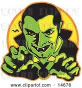 Vector Clip Art of Retro Male Vampire with Dark Hair Slicked Back, Reaching Outwards While Grinning and Showing His Fangs As a Vampire Bat Flies in the Distance Clipart Illustration by Andy Nortnik