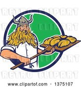 Vector Clip Art of Retro Male Viking Warrior Baker Holding a Peel with Bread Dough, Emerging from a Blue White and Gree Circle by Patrimonio