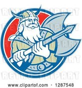 Vector Clip Art of Retro Male Viking Warrior with a Battle Axe in a Blue White and Red Circle by Patrimonio