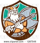Vector Clip Art of Retro Male Viking Warrior with a Battle Axe in a Brown White and Turquoise Shield by Patrimonio