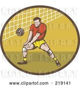 Vector Clip Art of Retro Male Volleyball Player Logo by Patrimonio