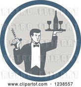 Vector Clip Art of Retro Male Waiter Serving Wine in a Circle by Patrimonio