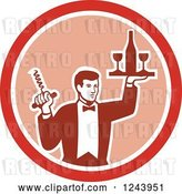 Vector Clip Art of Retro Male Waiter Serving Wine in a Pink and Red Circle by Patrimonio