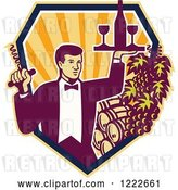 Vector Clip Art of Retro Male Waiter Serving Wine over Barrels in a Shield of Rays by Patrimonio