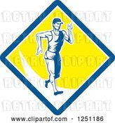 Vector Clip Art of Retro Male Walkathon Guy in a Blue White and Yellow Diamond by Patrimonio