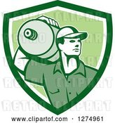 Vector Clip Art of Retro Male Water Delivery Worker in a Green and White Shield by Patrimonio
