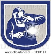Vector Clip Art of Retro Male Welder Holding a Torch in a Shield by Patrimonio