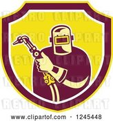 Vector Clip Art of Retro Male Welder Holding His Tool in a Shield by Patrimonio