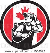 Vector Clip Art of Retro Male Welder Looking Back over His Shoulder in a Canadian Flag Circle by Patrimonio