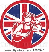 Vector Clip Art of Retro Male Welder Looking Back over His Shoulder in a Union Jack Flag Circle by Patrimonio