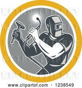 Vector Clip Art of Retro Male Welder with a Torch and Hammer in a Circle by Patrimonio