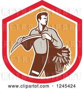Vector Clip Art of Retro Male Wheat Farmer Holding a Scythe in a Red and Orange Shield by Patrimonio