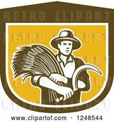 Vector Clip Art of Retro Male Wheat Farmer Holding a Scythe in a Shield by Patrimonio