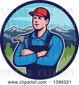 Vector Clip Art of Retro Male White Carpenter with Folded Arms, Holding a Hammer in a Circle of Mountains by Patrimonio