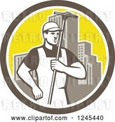 Vector Clip Art of Retro Male Window Washer Holding a Squeegee in a City Circle by Patrimonio