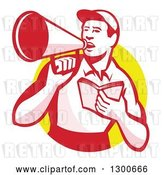 Vector Clip Art of Retro Male Worker Holding a Book and Using a Bullhorn in a Yellow Circle by Patrimonio