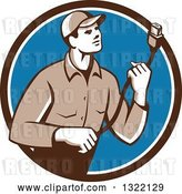 Vector Clip Art of Retro Male Worker Holding a HDMI Cable and Emerging from a Brown White and Blue Circle by Patrimonio