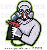 Vector Clip Art of Retro Male Worker Holding a Spray Painting Gun by Patrimonio