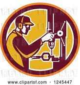 Vector Clip Art of Retro Male Worker Operating a Drill Press in a Circle by Patrimonio