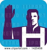 Vector Clip Art of Retro Male Worker Raising His Arm in a Blue Square by Patrimonio