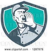 Vector Clip Art of Retro Male Worker Shouting in a Gray White and Turquoise Shield by Patrimonio