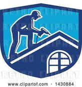 Vector Clip Art of Retro Male Worker Using a Hand Drill on a Roof in a Blue Crest by Patrimonio
