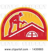 Vector Clip Art of Retro Male Worker Using a Hand Drill on a Roof in a White, Red and Orange Half Circle by Patrimonio