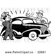Vector Clip Art of Retro Man Admiring a Car by BestVector