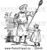 Vector Clip Art of Retro Man and Girl Baking by Prawny Vintage