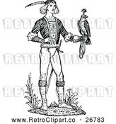 Vector Clip Art of Retro Man and Hawk by Prawny Vintage