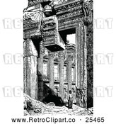 Vector Clip Art of Retro Man at the Ruins of Baalbeck by Prawny Vintage
