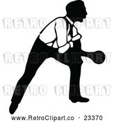 Vector Clip Art of Retro Man Bowling 7 by Prawny Vintage