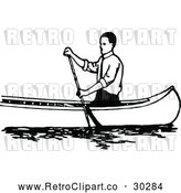 Vector Clip Art of Retro Man Canoeing 1 by Prawny Vintage