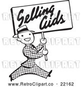 Vector Clip Art of Retro Man Carrying a Selling Aids Sign by BestVector
