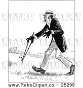 Vector Clip Art of Retro Man Carrying a Weed Through a Field by Prawny Vintage