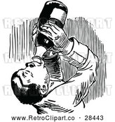 Vector Clip Art of Retro Man Chugging Wine by Prawny Vintage
