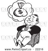 Vector Clip Art of Retro Man Dreaming of Money by BestVector