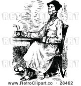 Vector Clip Art of Retro Man Drinking Coffee or Tea by Prawny Vintage