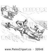 Vector Clip Art of Retro Man Falling off a Donkey in 2 by Picsburg