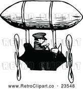 Vector Clip Art of Retro Man Flying an Airship by Prawny Vintage