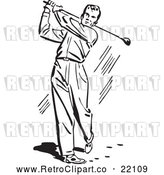 Vector Clip Art of Retro Man Golfing by BestVector